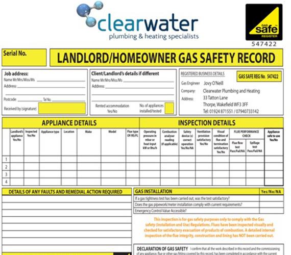 Wakefield Landlord Gas Safety Certificates Leeds Ossett